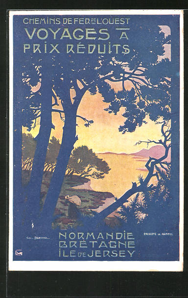 AK Chemins de Fer de l'Ouest, Voyages a Prix Reduits, Normandie, Bretagne, Ile de Jersey