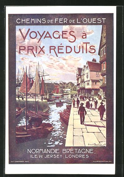 AK Chemins de Fer l'Ouest, Voyages Prix Réduits, Normandie, Ile de Jersey, Londres