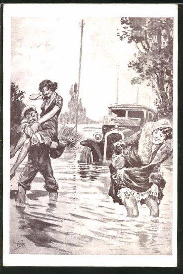 Künstler-AK sign. G.Conrad: Mann rettet Frau aus einem Auto im Fluss