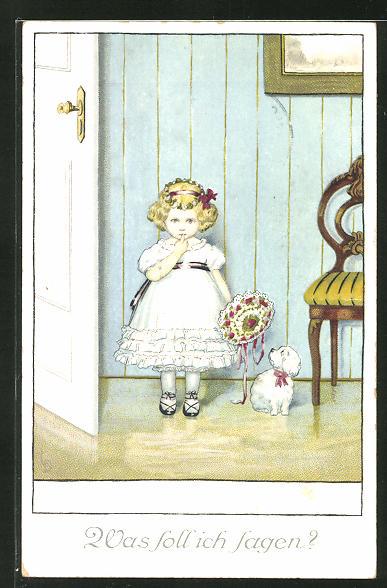 Künstler-AK Lia Döring: Mädchen mit Blumenstrauss steht hinter einer Tür