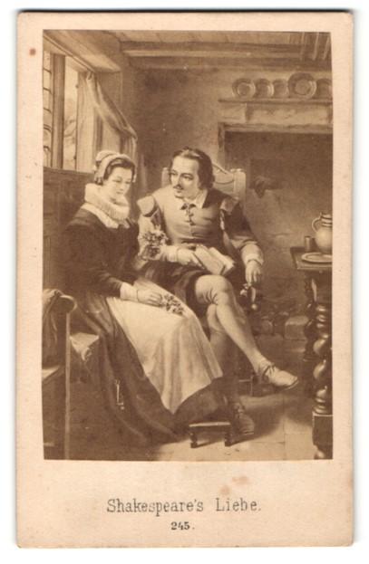Fotografie Gemälde von unbek. Künstler, Shakespeare's Liebe