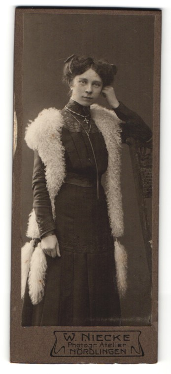 Fotografie W. Niecke, Nördlingen, Portrait junge Dame mit Pelzschal