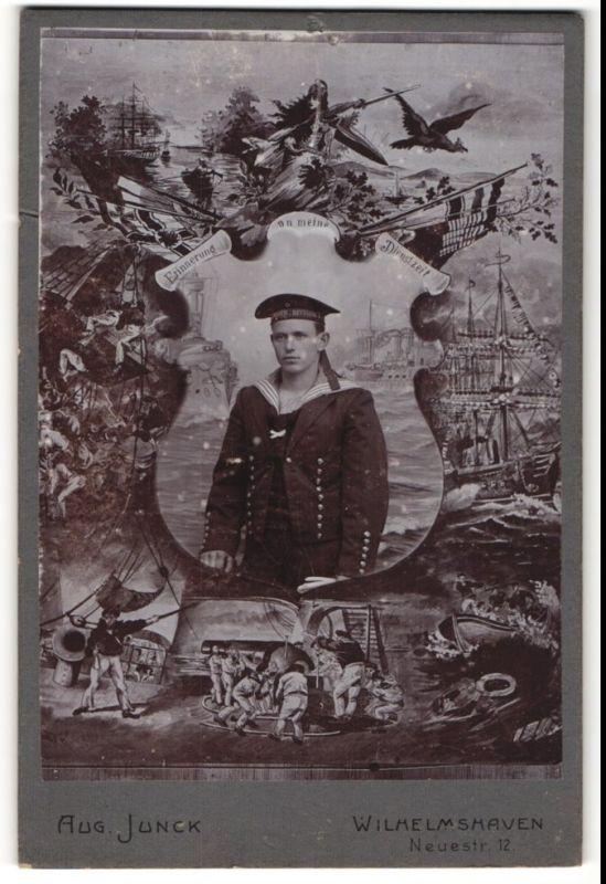 Fotografie Aug. Junck, Wilhelmshaven, Portrait Matrosen mit Mützenband Matrosen-Division II