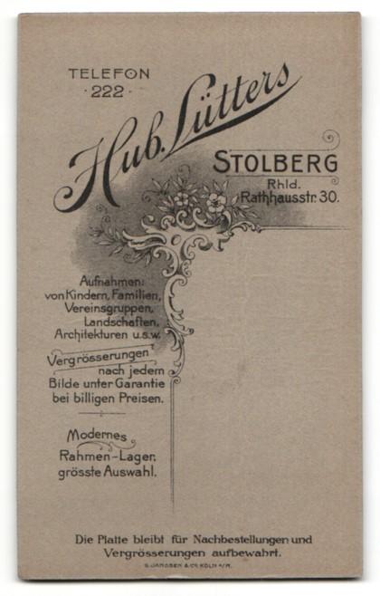Fotografie H. Lütters, Stolberg, Portrait junger Herr mit zeitgenöss. Frisur 1
