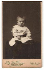 Fotografie Edg. Wallnau, Berlin-N, Portrait Kleinkind in zeitgenöss. Kleidung