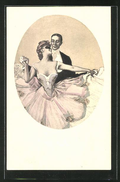 Künstler-AK Simplicissimus Ferdinand von Reznicek: Mondänes Tanzpaar beim Maskenball
