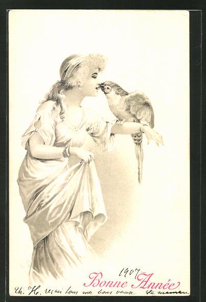 Künstler-AK Elegante Dame füttert Papagei mit dem Mund, Jugendstil