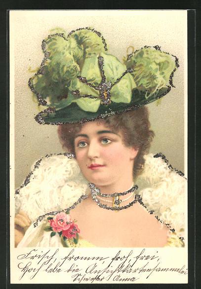 Lithographie Elegante Dame mit Federboa, Hut und Glitzerrand, Jugendstil