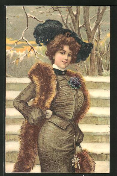 Lithographie Dame im Winterpelz mit Federschmuck an einer Treppe, Jugendstil