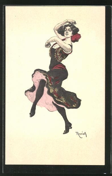 Künstler-AK Simplicissimus, Ferdinand von Reznicek: Frau tanzt Flamenco