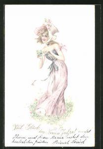 Lithographie Junge Frau im Jugendstil-Kleid mit Hut auf der Blumenwiese