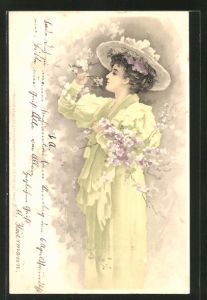 Lithographie Frau mit Hut duftet an den Blütenzweigen, Jugendstil