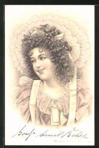 Lithographie Lächelnde Frau mit Lockenkopf und Rüschenhaube, Jugendstil