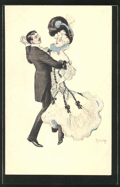Künstler-AK Ferdinand von Reznicek: Simplicissimus Nr.5: Paar beim Tanz