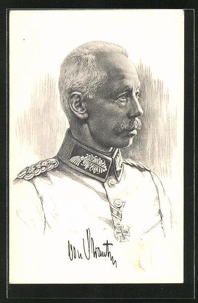Künstler-AK Portrait General d. Inf. von Strantz mit eisernem Kreuz