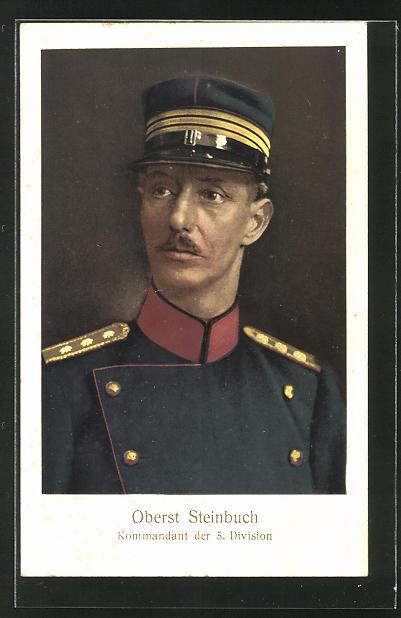 AK Portrait Oberst Steinbuch, Kommandant der 5. Division