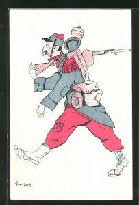 Künstler-AK Karikatur eines schwitzenden französischen Soldaten mit Trinkernase