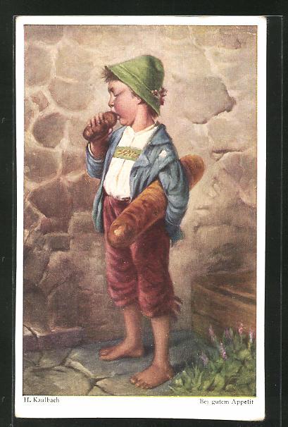 Künstler-AK Hermann Kaulbach: Junge in Tracht beisst in ein Brötchen