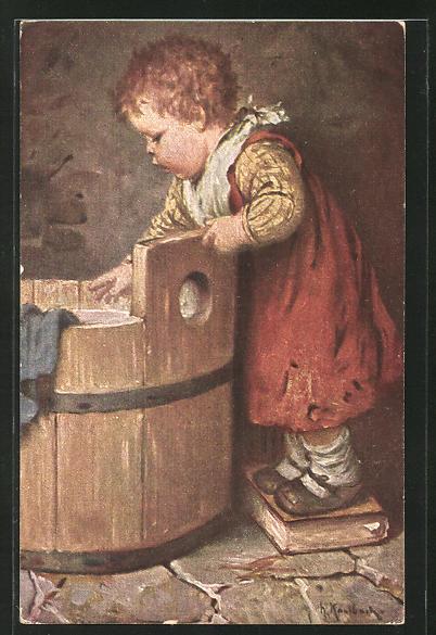 Künstler-AK Hermann Kaulbach: Mädchen bei der grossen Wäsche