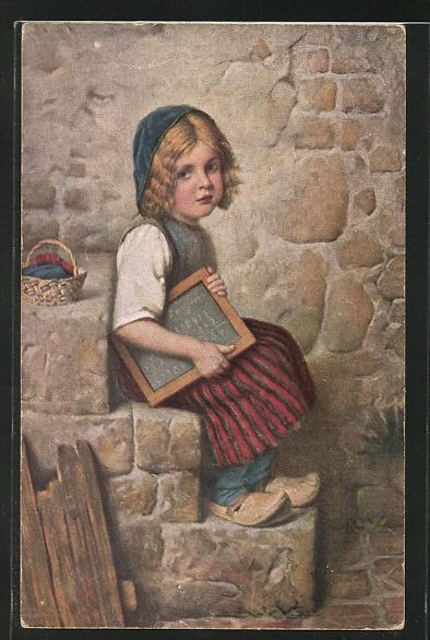Künstler-AK Hermann Kaulbach: Gretel mit Schultafel