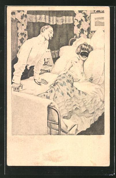 Künstler-AK Ferdinand von Reznicek: Simplicissimus Nr.4: Mann betrachte Frau mit Augenmaske im Bett