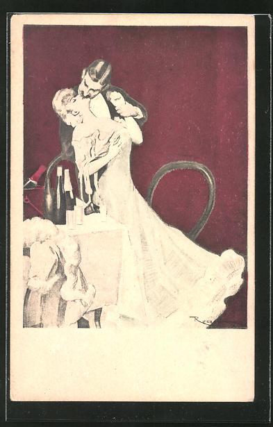 Künstler-AK Ferdinand von Reznicek: Simplicissimus Nr.1: Paar küsst sich