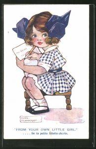 Künstler-AK Agnes Richardson: Mädchen schreibt einen Brief