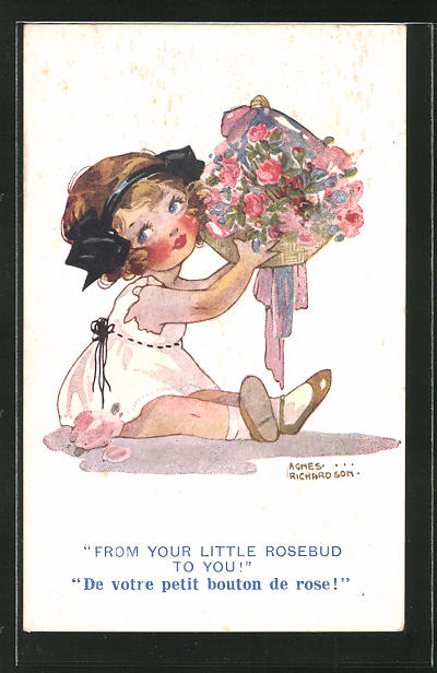 Künstler-AK Agnes Richardson: Mädchen mit Blumenstrauss