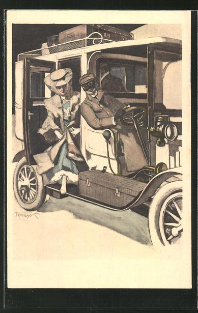 Künstler-AK Ferdinand von Reznicek: Simplicissimus Nr.11: junge Dame steigt aus einem Auto