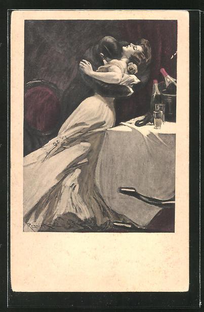Künstler-AK Ferdinand von Reznicek: Simplicissimus Nr.5: Paar küsst sich