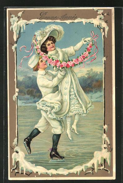 AK Paar beim Schlittschuh laufen mit Rosengirlande