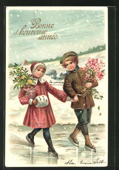 Präge-AK Kinder mit Schlittschuh & Blumen