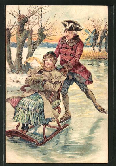 AK Paar mit Schlittschuh & Schlitten