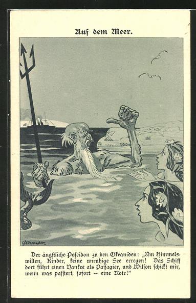 AK Auf dem Meer, der ängstliche Poseidon