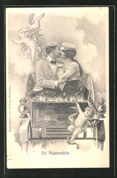 Künstler-AK Charles Scolik: Frau und Mann küssen sich im Automobil