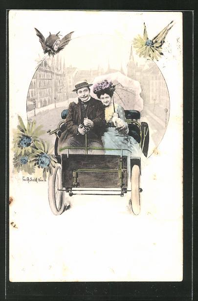 Künstler-AK Charles Scolik: Liebespaar mit Regenschirm fährt im Automobil durch die Stadt