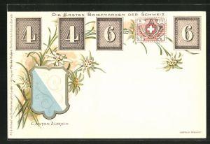 Lithographie Die ersten Briefmarken der Schweiz, Wappen und Edelweiss