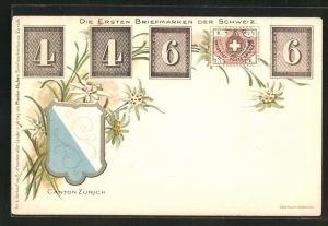AK Die ersten Briefmarken der Schweiz, Wappen des Cantons Zürich, Edelweiss
