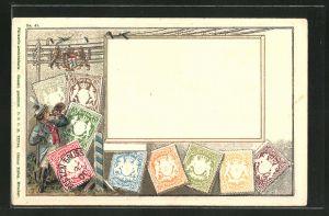 Präge-Lithographie Briefmarken aus Bayern, Mann mit Posthorn, Wappen