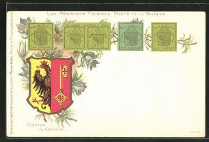 Lithographie Die ersten Briefmarken der Schweiz, Wappen des Kantons Genf