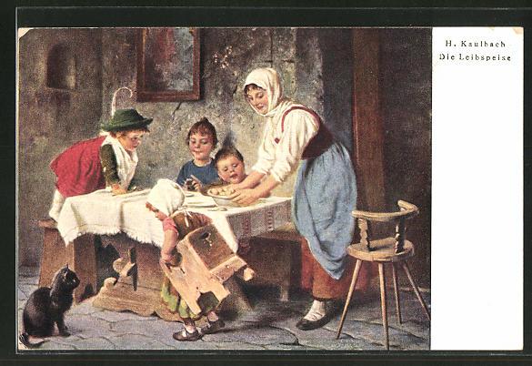 Künstler-AK Hermann Kaulbach: Die Leibspeise, Kinder am Tisch freuen sich über das leckere Essen