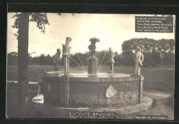 AK Zar Nikolaus II. von Russland als Figur auf dem Entente-Brunnen