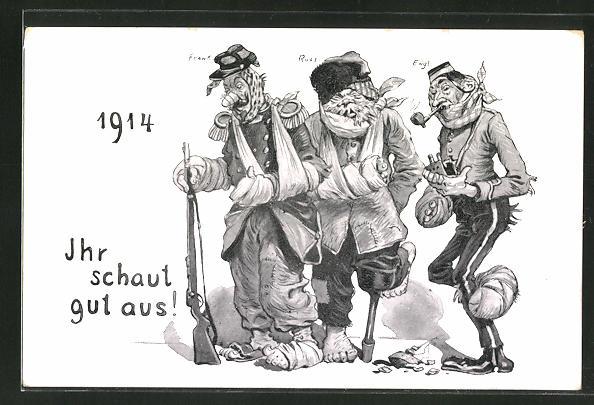 AK Verletzte französische, russische und englische Soldaten 1914,