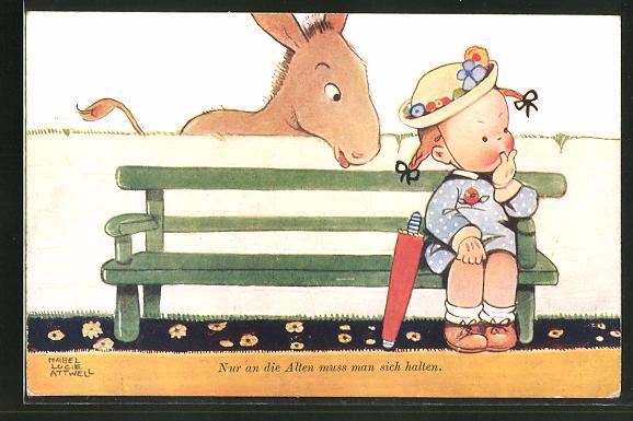 Künstler-AK Mabel Lucie Attwell: Esel überrascht das Mädchen auf der Bank