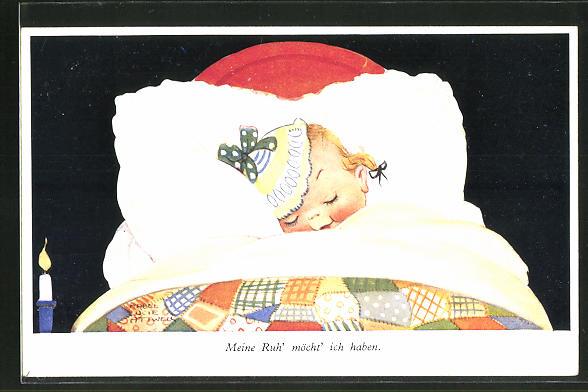 Künstler-AK Mabel Lucie Attwell: Kleines Mädchen schläft in seinem Bettchen