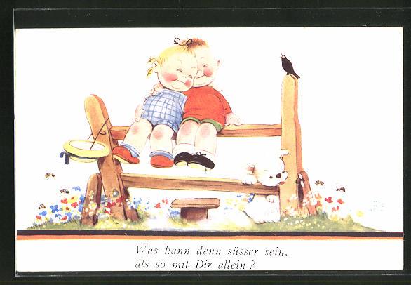 Künstler-AK Mabel Lucie Attwell: Kinderpaar sitzt in inniger Umarmung auf einem Zaun