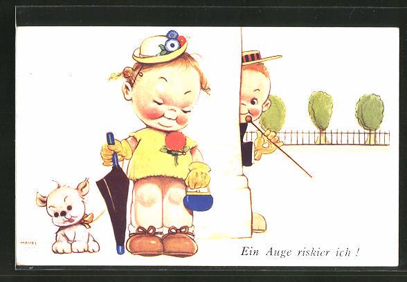 Künstler-AK Mabel Lucie Attwell: Junge blickt um die Ecke und beobachtet das kleine Mädchen mit dem Hund