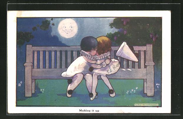 Künstler-AK Agnes Richardson: Kleiner Pierrot mit seiner Freundin im Mondschein