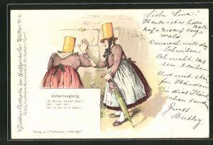 Künstler-AK Meggendorfer Blätter Nr. 4: Frauen blicken durch ein Loch in der Mauer