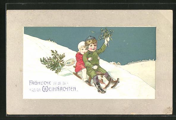 Präge-AK Weihnachtsgruss, Kinder auf Schlitten